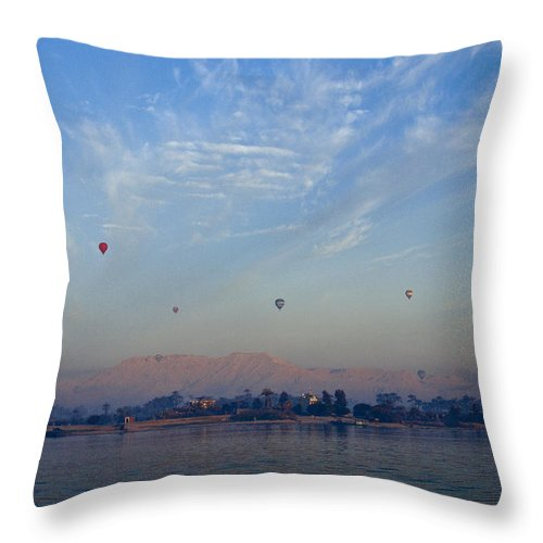 Egypt Throw Pillow featuring the photograph Ballooning Over The Nile by Michele Burgess
