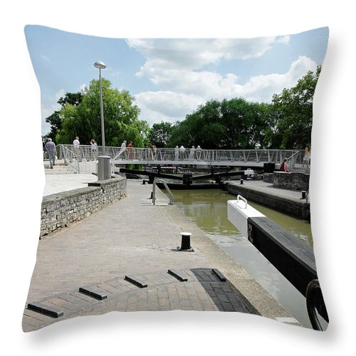 Europe Throw Pillow featuring the photograph Bancroft Basin - Canal Lock by Rod Johnson
