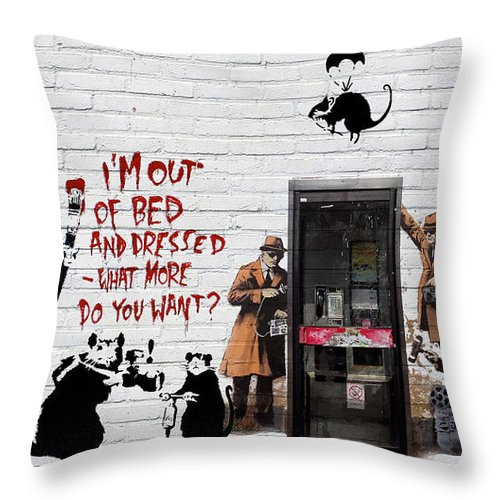�urban Graffiti� Collection By Serge Averbukh Throw Pillow featuring the photograph Banksy - The Tribute - Rats by Serge Averbukh