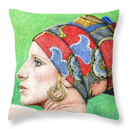 Singer Throw Pillow featuring the drawing Barbra Streisand by Rob De Vries