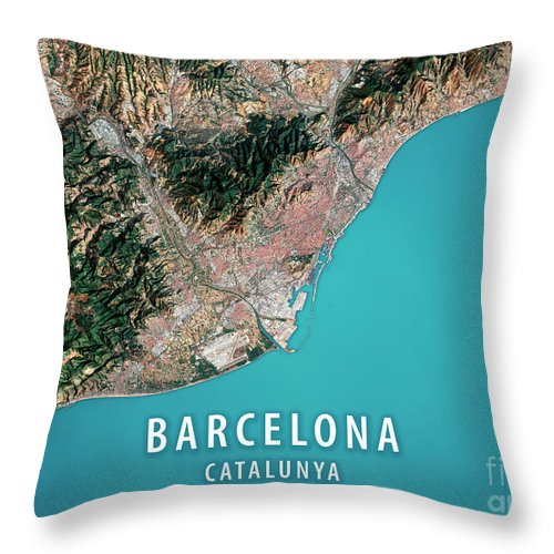 Barcelona Throw Pillow featuring the digital art Barcelona 3D Render Satellite View Topographic Map by Frank Ramspott