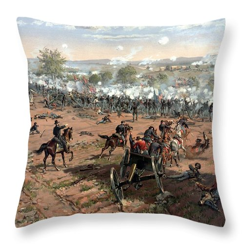 Civil War Throw Pillow featuring the painting Battle Of Gettysburg by War Is Hell Store