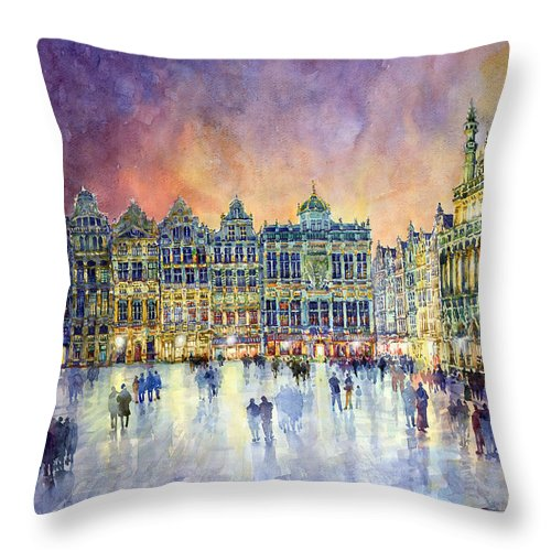 Watercolor Throw Pillow featuring the painting Belgium Brussel Grand Place Grote Markt by Yuriy Shevchuk