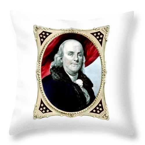 Benjamin Franklin Throw Pillow featuring the painting Ben Franklin - Two by War Is Hell Store