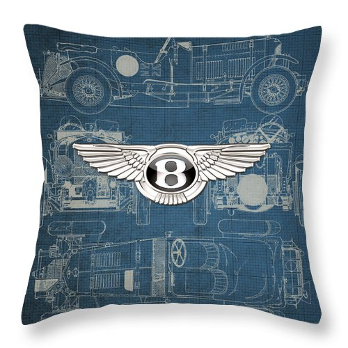 �wheels Of Fortune� By Serge Averbukh Throw Pillow featuring the photograph Bentley - 3 D Badge over 1930 Bentley 4.5 Liter Blower Vintage Blueprint by Serge Averbukh