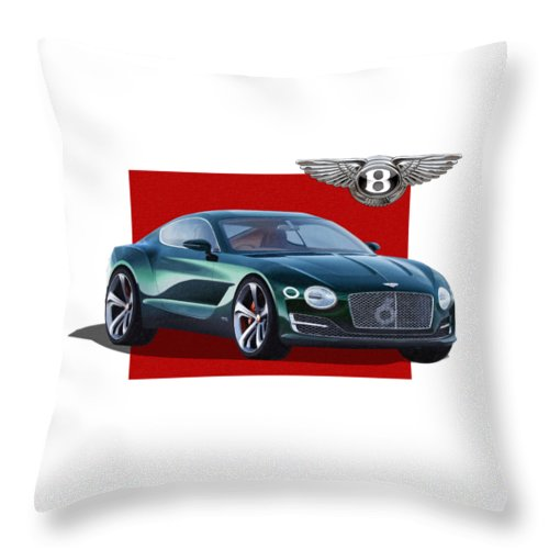 �bentley� Collection By Serge Averbukh Throw Pillow featuring the photograph Bentley E X P 10 Speed 6 with 3 D Badge by Serge Averbukh