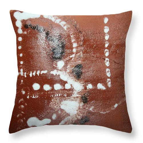 Jesus Throw Pillow featuring the ceramic art Bernard - Tile by Gloria Ssali