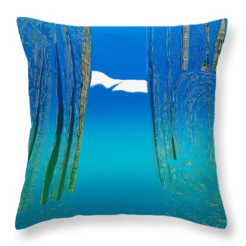 Landscape Throw Pillow featuring the mixed media Between Two Mountains. by Jarle Rosseland