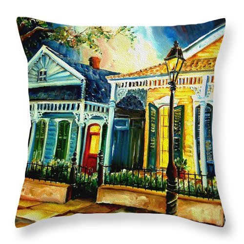 New Orleans Throw Pillow featuring the painting Big Easy Neighborhood by Diane Millsap