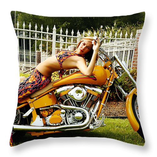 Clay Throw Pillow featuring the photograph Bikes And Babes by Clayton Bruster