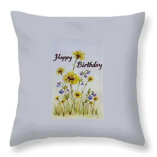 Card Throw Pillow featuring the painting Birthday Card by Jimmy Smith