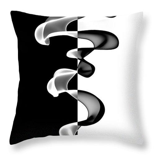 Abstract Throw Pillow featuring the digital art Black And White by Ann Garrett