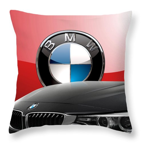 �auto Badges� Collection By Serge Averbukh Throw Pillow featuring the photograph Black B M W - Front Grill Ornament and 3 D Badge on Red by Serge Averbukh