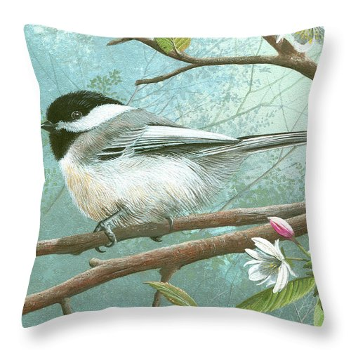Black Cap Chickadee Throw Pillow featuring the painting Black Cap Chickadee by Mike Brown