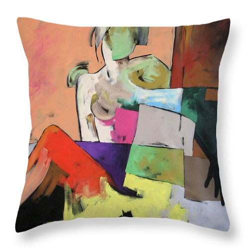 Original Painting Throw Pillow featuring the painting Black Glove by Linda Monfort