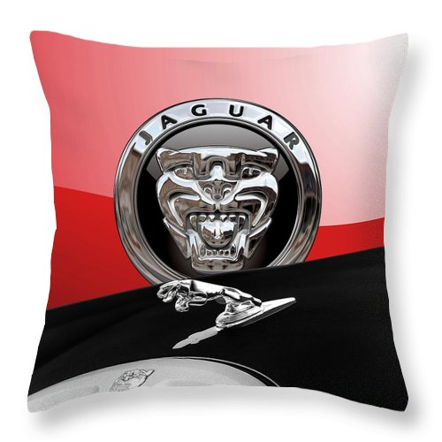 'auto Badges' Collection By Serge Averbukh Throw Pillow featuring the photograph Black Jaguar - Hood Ornaments And 3 D Badge On Red by Serge Averbukh