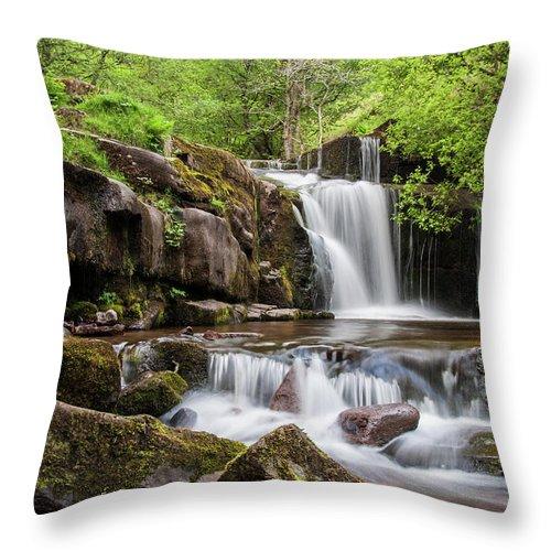 Blaen Y Glyn Throw Pillow featuring the photograph Blaen Y Glyn Waterfalls by Nigel Forster