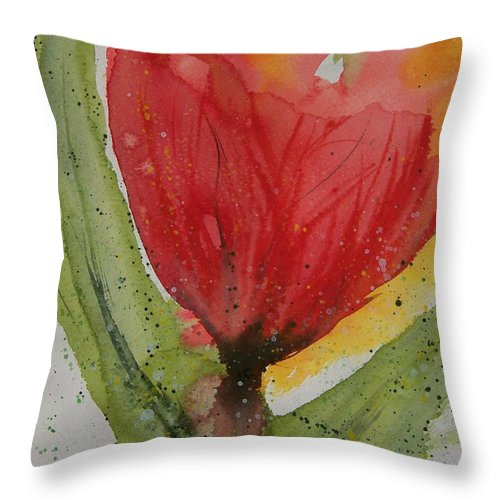Fantasy Flower Throw Pillow featuring the painting Blaze by Jackie Mueller-Jones