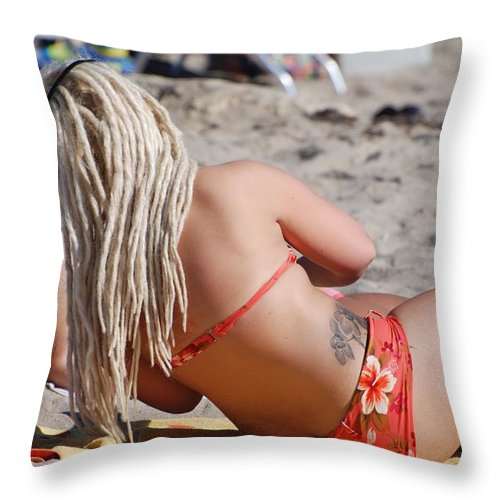 Girls Throw Pillow featuring the photograph Blondie Braids by Rob Hans