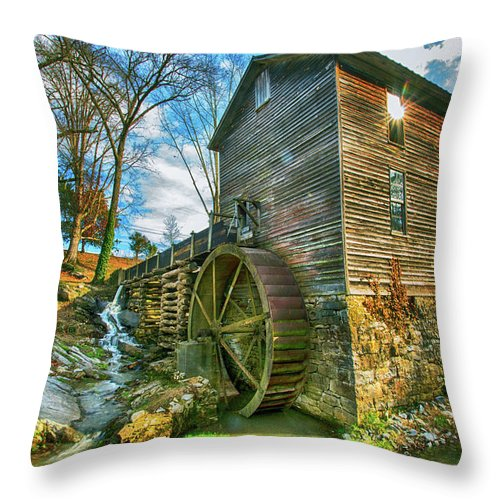 Blowing Cave Mill Throw Pillow featuring the photograph Blowing Cave Mill Near Smoky Mountains Of East Tennessee by Carol Mellema