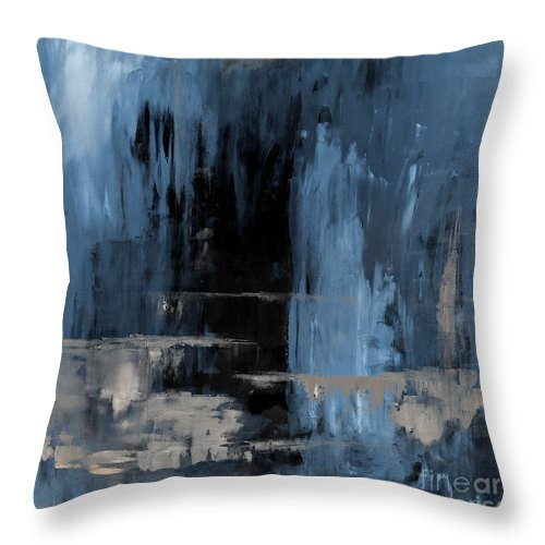 Blue Throw Pillow featuring the painting Blue Abstract 12m2 by Voros Edit