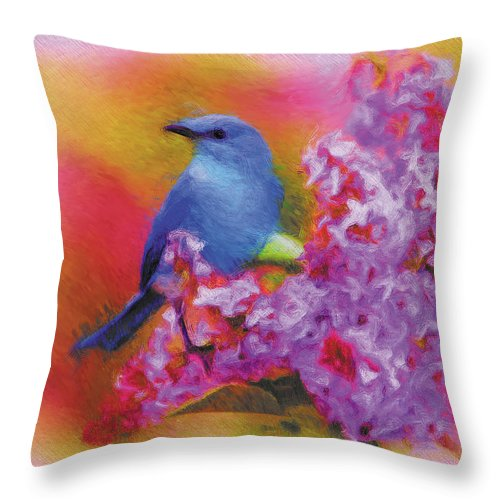 Animals Throw Pillow featuring the digital art Blue Bird In The Lilac's by Robert Fohr