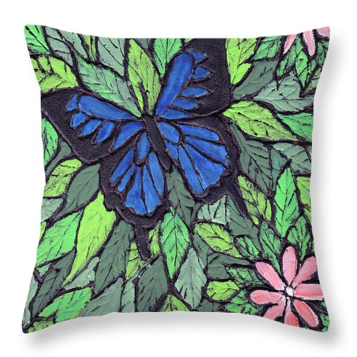 Butterfly Throw Pillow featuring the painting Blue Butterfly Two by Wayne Potrafka