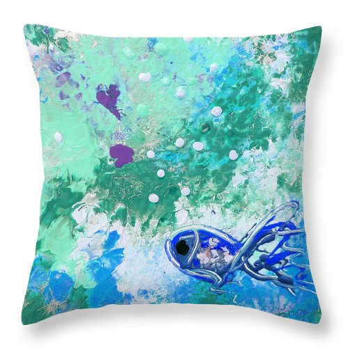 Fish Throw Pillow featuring the painting 1 Blue Fish by Gina De Gorna