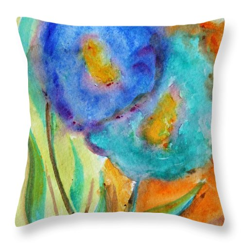 Flowers Throw Pillow featuring the painting Blue Flowers by Luiza Vizoli