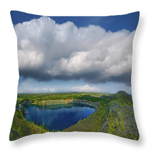 Landscape Throw Pillow featuring the photograph Blue Lake by Vladimir Kholostykh
