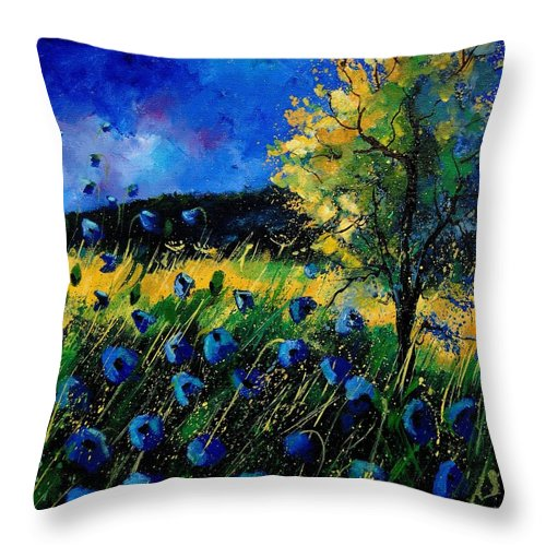 Poppies Throw Pillow featuring the painting Blue Poppies by Pol Ledent