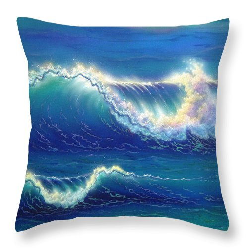 Blue Throw Pillow featuring the painting Blue Thunder by Angie Hamlin