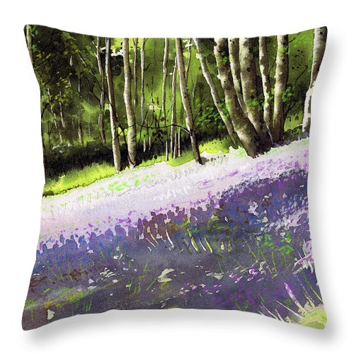 Wood Throw Pillow featuring the painting Bluebell Wood by Paul Dene Marlor