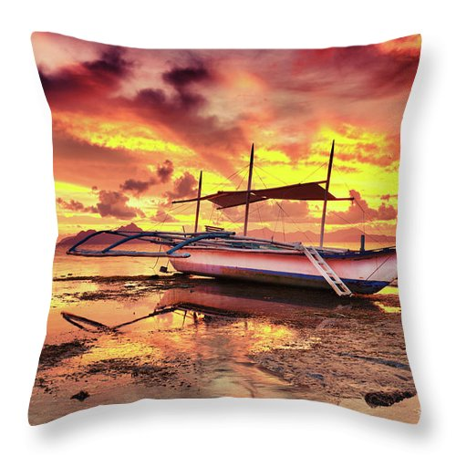 Boat Throw Pillow featuring the photograph Boat At Sunset by MotHaiBaPhoto Prints