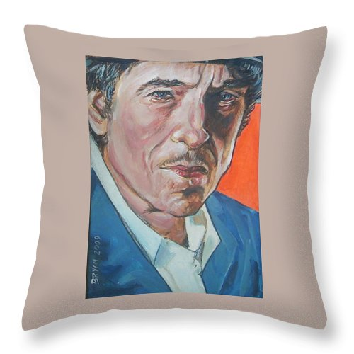 Bob Dylan Throw Pillow featuring the painting Bob Dylan by Bryan Bustard