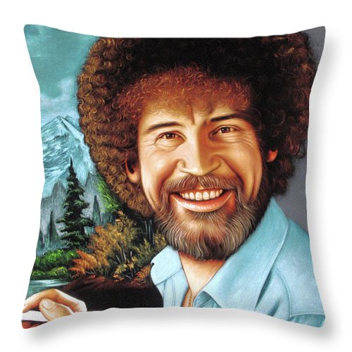 Velvet Painting Throw Pillow featuring the painting Bob Ross by Zenon Matias Jimenez