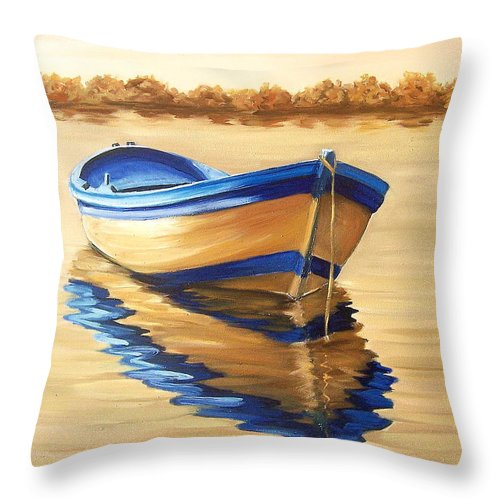 Still Life Throw Pillow featuring the painting Lake by Natalia Tejera