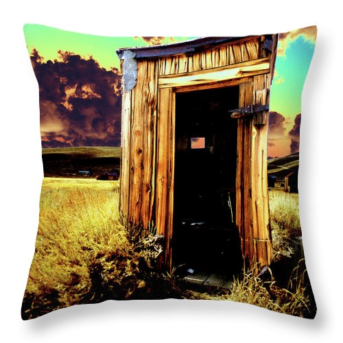 Bodie Throw Pillow featuring the photograph Bodie Outhouse by Jim And Emily Bush