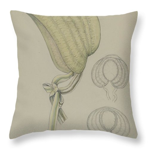 Throw Pillow featuring the drawing Bonnet by Jessie M. Benge