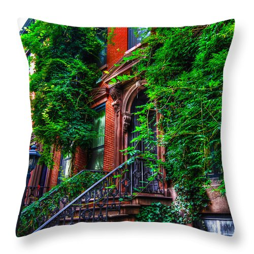 Townhouse Throw Pillow featuring the photograph Botanical Village by Randy Aveille