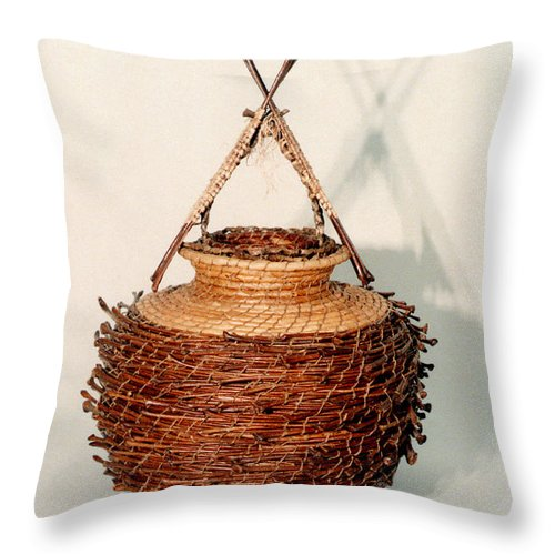 Fibre Throw Pillow featuring the mixed media Bound And Unified In Contrast by Kerryn Madsen-Pietsch