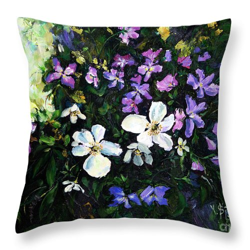 Flower Throw Pillow featuring the painting Bouquet by Yana Sadykova