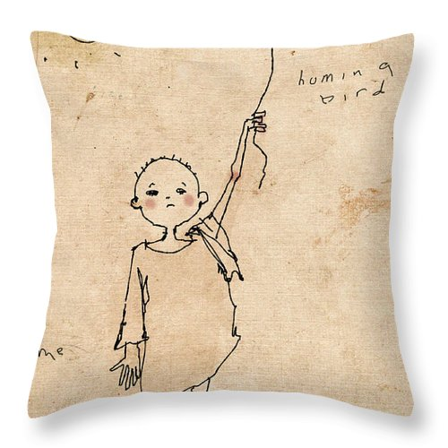 Child Throw Pillow featuring the drawing Boy With Bird by H James Hoff