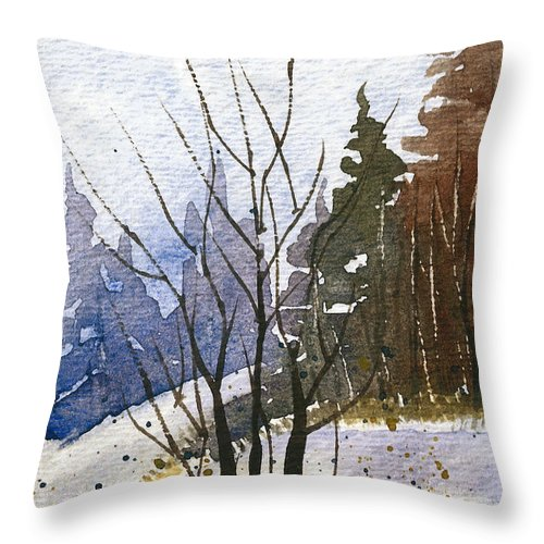 Snow Throw Pillow featuring the painting Branches by Tonya Doughty