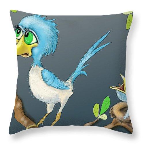 Bird And Worm Throw Pillow featuring the digital art Breakfast by Hank Nunes