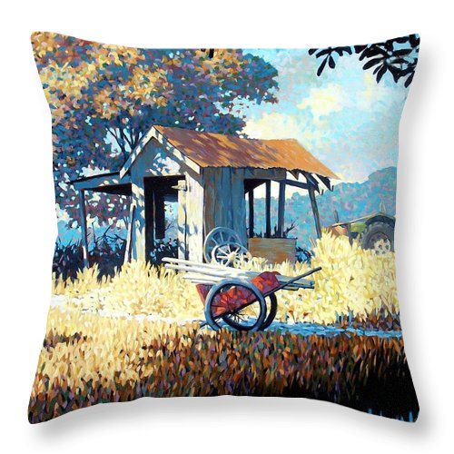 Cart Throw Pillow featuring the painting Breaktime by Kevin Lawrence Leveque