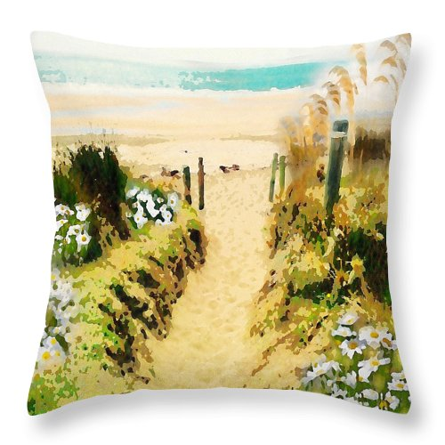 Painting Throw Pillow featuring the digital art Path To The Beach by Clive Littin