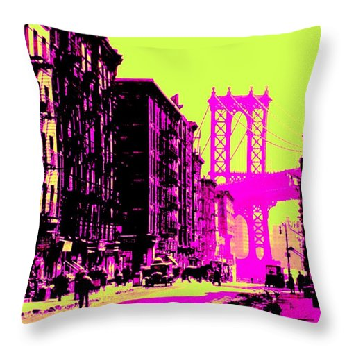 Truck Throw Pillow featuring the photograph Brooklyn Bridge by Lord Frederick Lyle Morris - Disabled Veteran
