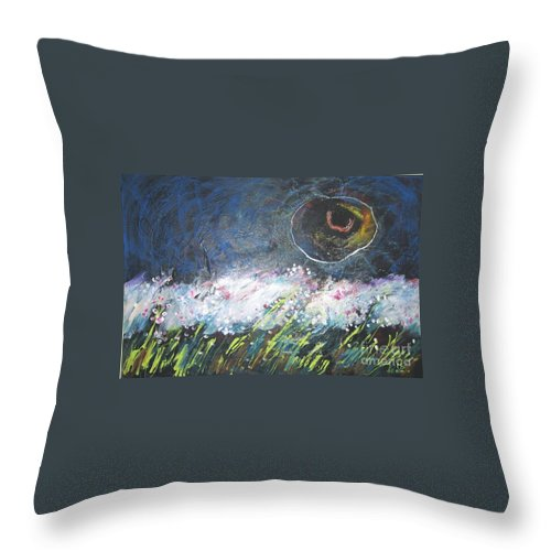 Aabstract Paintings Throw Pillow featuring the painting Buckwheat Field by Seon-Jeong Kim