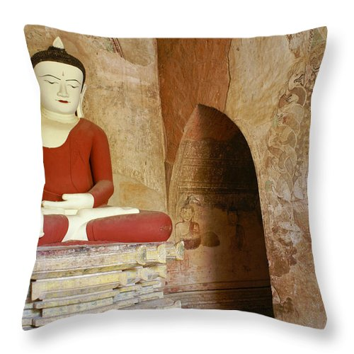 Buddha Throw Pillow featuring the photograph Buddha In A Niche by Michele Burgess